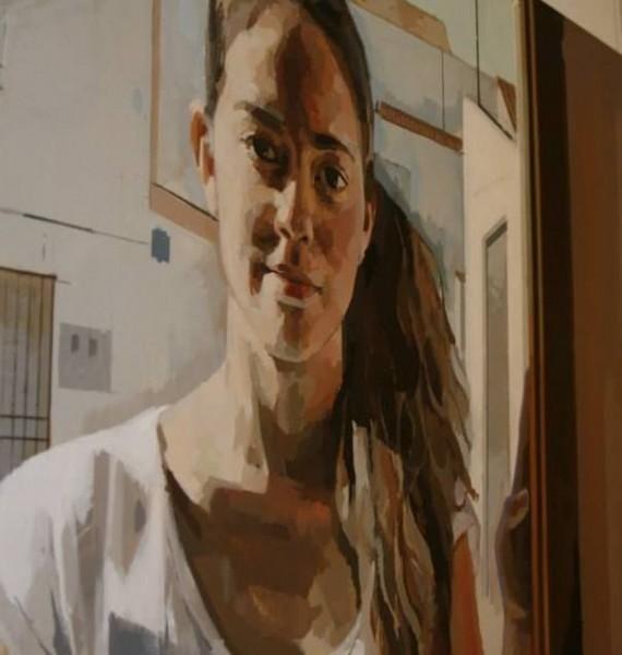 """Marta"" (detalle) 120x120 Óleo sobre tabla 2014"